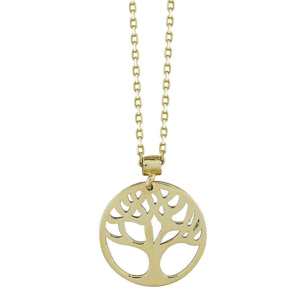 Κολιέ με Το Δέντρο Της Ζωής από Κίτρινο Χρυσό Κ14 KL104530
