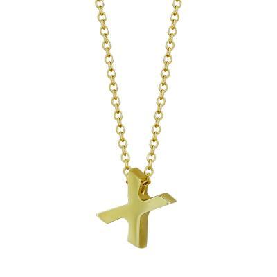 """Μονόγραμμα Μενταγιόν """"X"""" Από Κίτρινο Χρυσό Κ9 MG106933"""