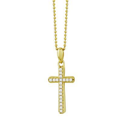 Γυναικείος Σταυρός με Πέτρες Σε Επιχρυσωμένο Ασήμι ST2665
