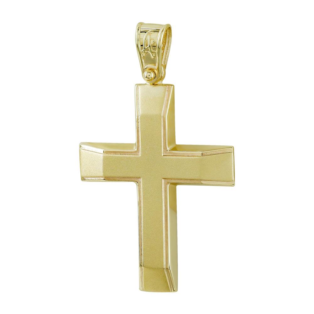 Σταυρός Βάπτισης Ανδρικός Σε Κίτρινο Χρυσό 9 Καρατίων ST2766