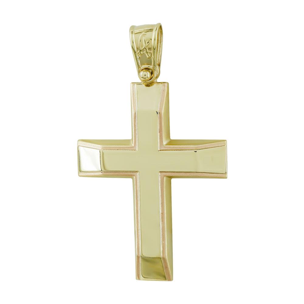 Σταυρός Βάπτισης Ανδρικός Σε Κίτρινο Χρυσό 9 Καρατίων ST2745