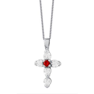 Γυναικείος Σταυρός με Kόκκινη Πέτρα Σε Ασήμι ST2679