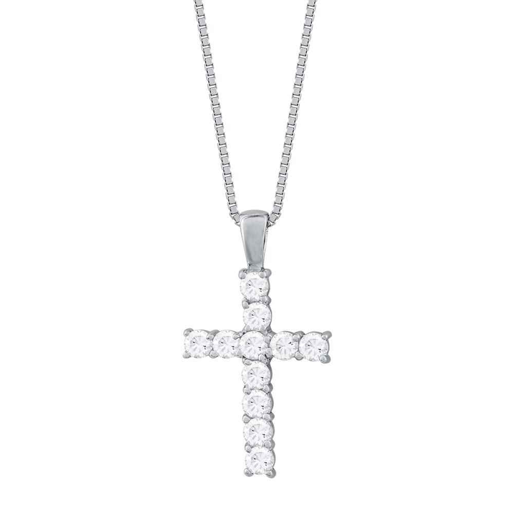 Γυναικείος Σταυρός με Πέτρες Σε Ασήμι ST2680