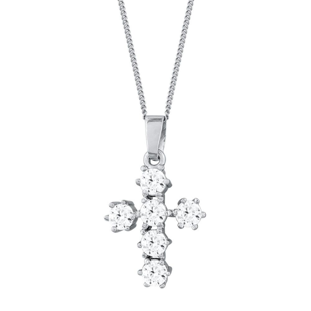 Γυναικείος Σταυρός με Πέτρες Σε Ασήμι ST2681