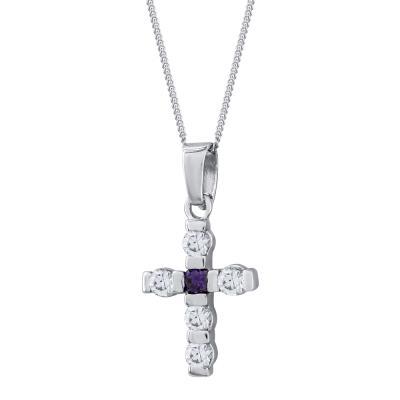 Γυναικείος Σταυρός με Πέτρες Σε Ασήμι ST2682