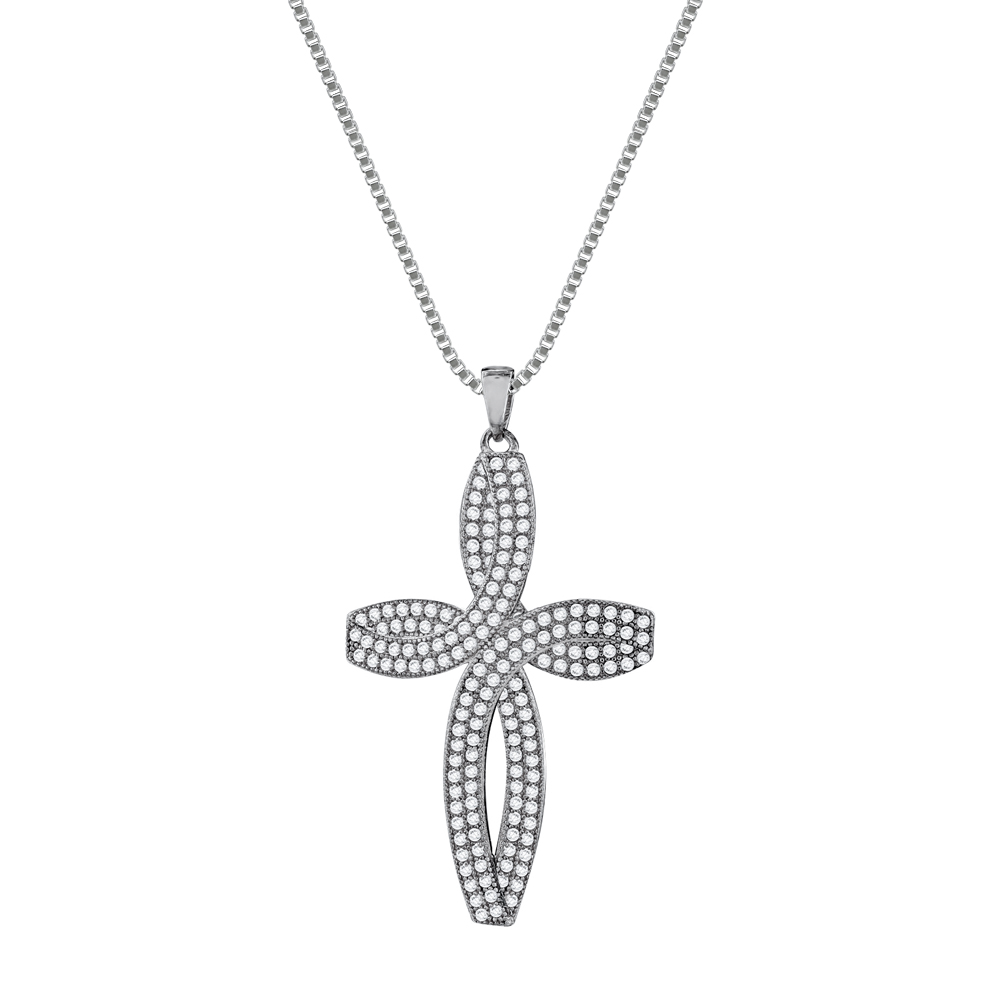 Γυναικείος Σταυρός με Πέτρες Σε Ασήμι ST2674