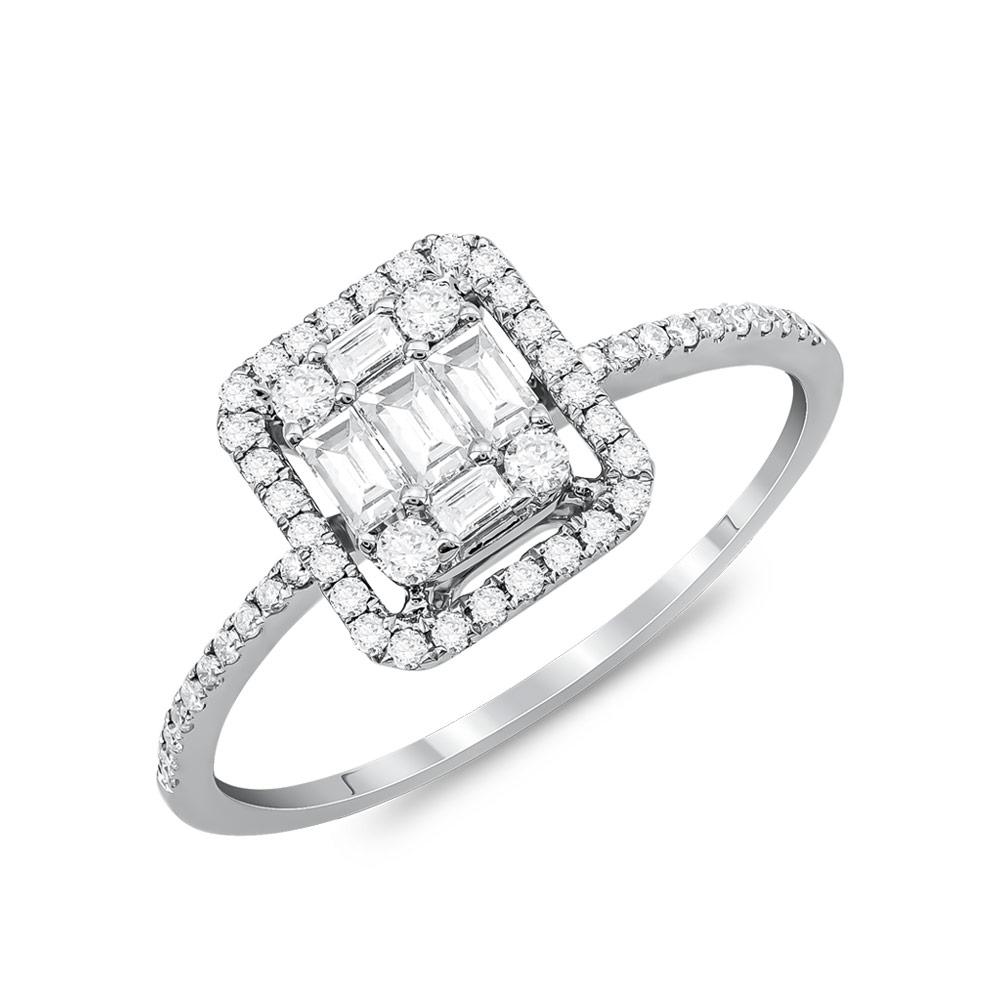 Μονόπετρο Δαχτυλίδι Με Διαμάντια Brilliant από Λευκό Χρυσό K18 DDX285