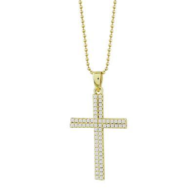 Γυναικείος Σταυρός με Πέτρες Σε Επιχρυσωμένο Ασήμι ST2676