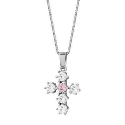 Γυναικείος Σταυρός με Πέτρες Σε Ασήμι ST2668