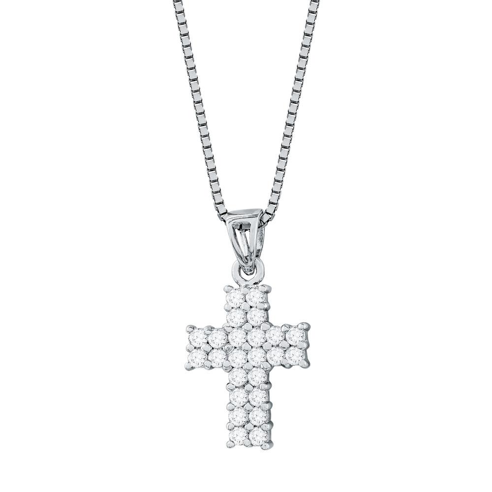 Γυναικείος Σταυρός με Πέτρες Σε Ασήμι ST2669
