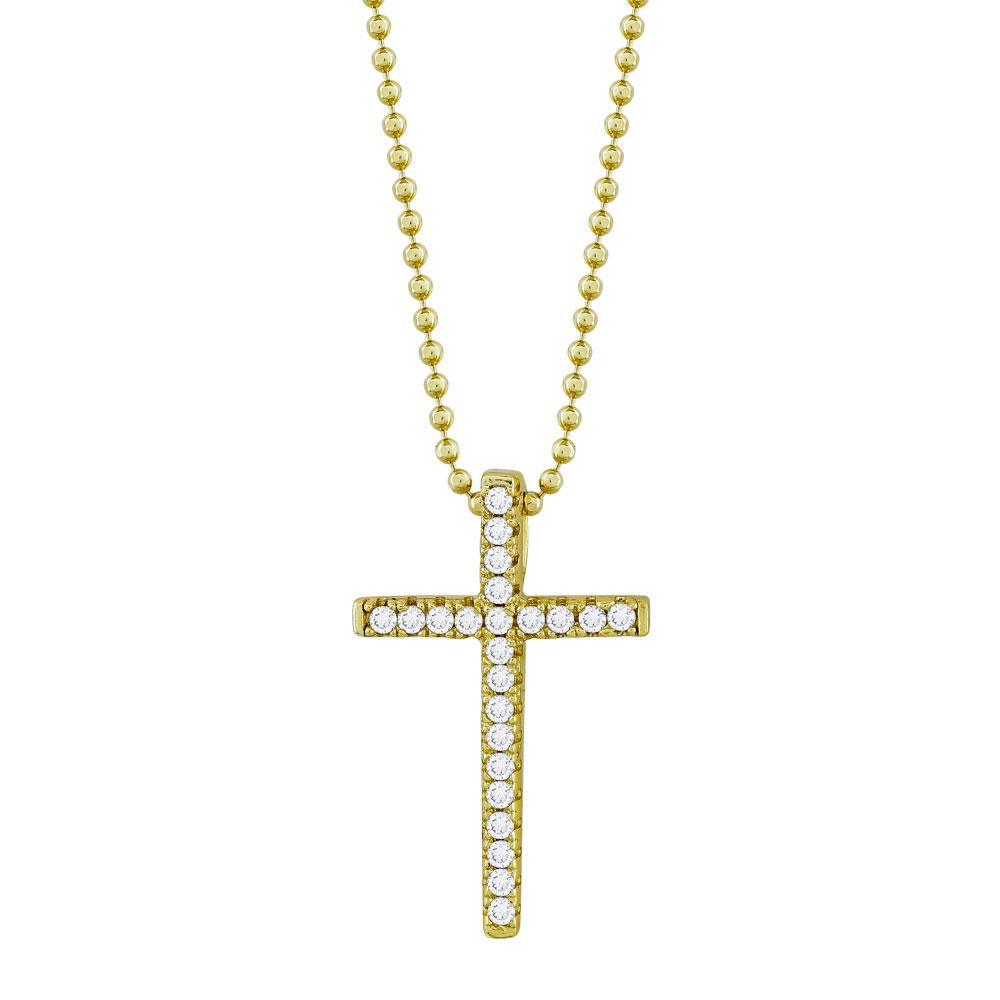 Γυναικείος Σταυρός με Πέτρες Σε Επιχρυσωμένο Ασήμι ST2671