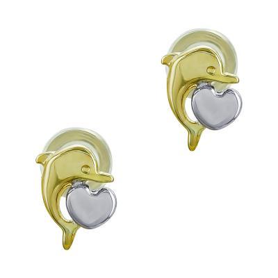 Παιδικά Σκουλαρίκια Δελφινάκια από Kίτρινο Χρυσό Κ9 PSK461