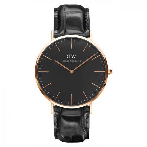 Daniel Wellington Classic Black Reading Rose Gold Black Leather Strap DW00100129