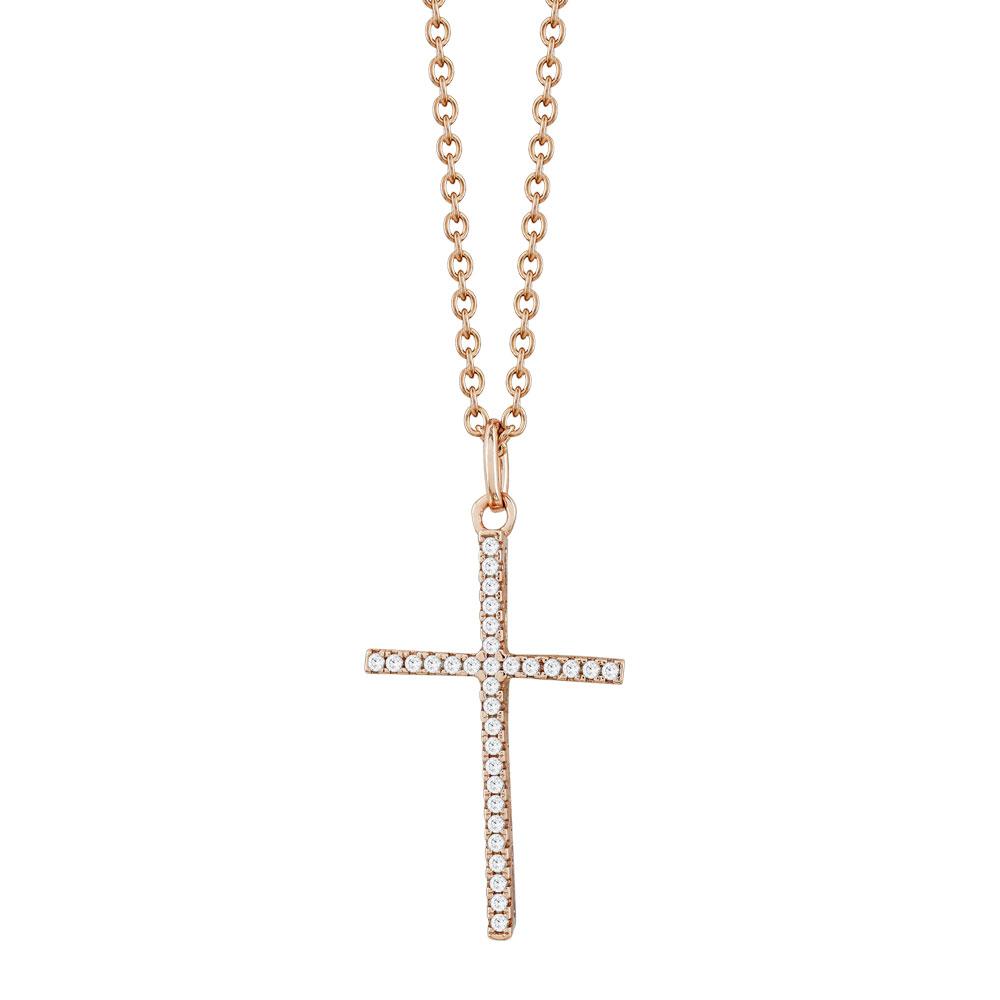 Γυναικείος Σταυρός με Πέτρες Σε Ροζ Επιχρυσωμένο Ασήμι ST2675