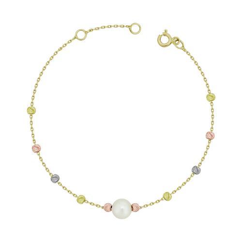 Bραχιόλι με Μαργαριτάρι από Τρίχρωμο Χρυσό K14 VR108220