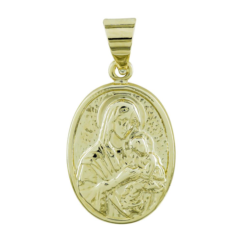 Φυλαχτό με την Παναγία Aπό Κίτρινο Χρυσό K9 PA541