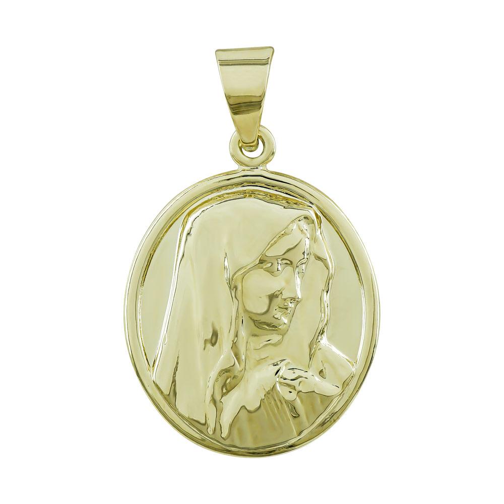 Φυλαχτό με την Παναγία Aπό Κίτρινο Χρυσό K9 PA542