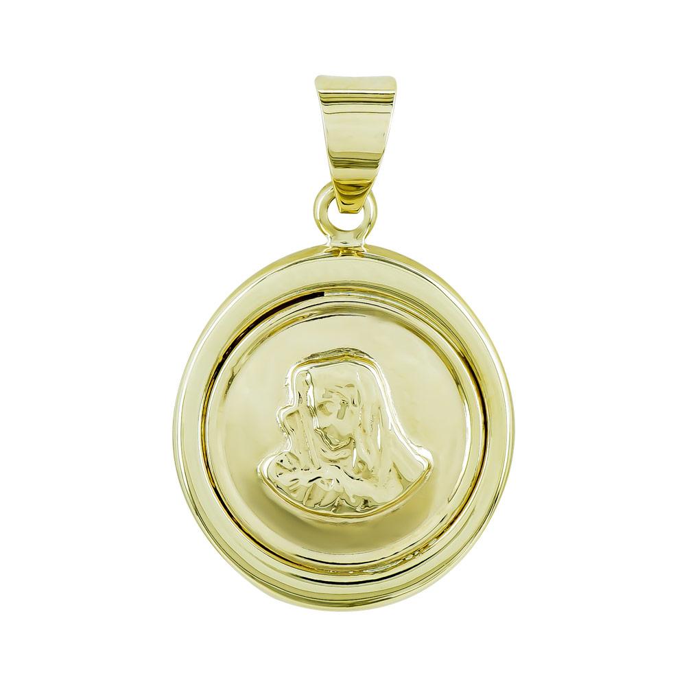 Φυλαχτό με την Παναγία Aπό Κίτρινο Χρυσό K9 PA545