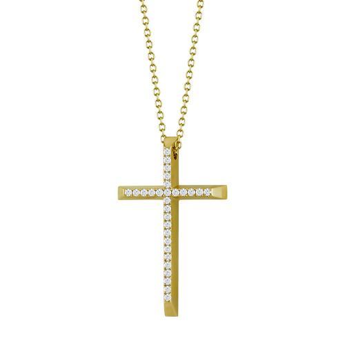 Σταυρός Βάπτισης Γυναικείος Σε Κίτρινο Χρυσό 18 Καρατίων Με Διαμάντια Brilliant ST2658