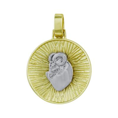Ζώδιο Κριός με Κωνσταντινάτο από Δίχρωμο Χρυσό Κ14 ZD225