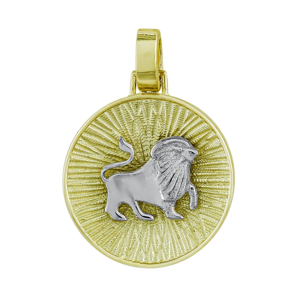 Ζώδιο Λέων με Κωνσταντινάτο από Δίχρωμο Χρυσό Κ14 ZD229