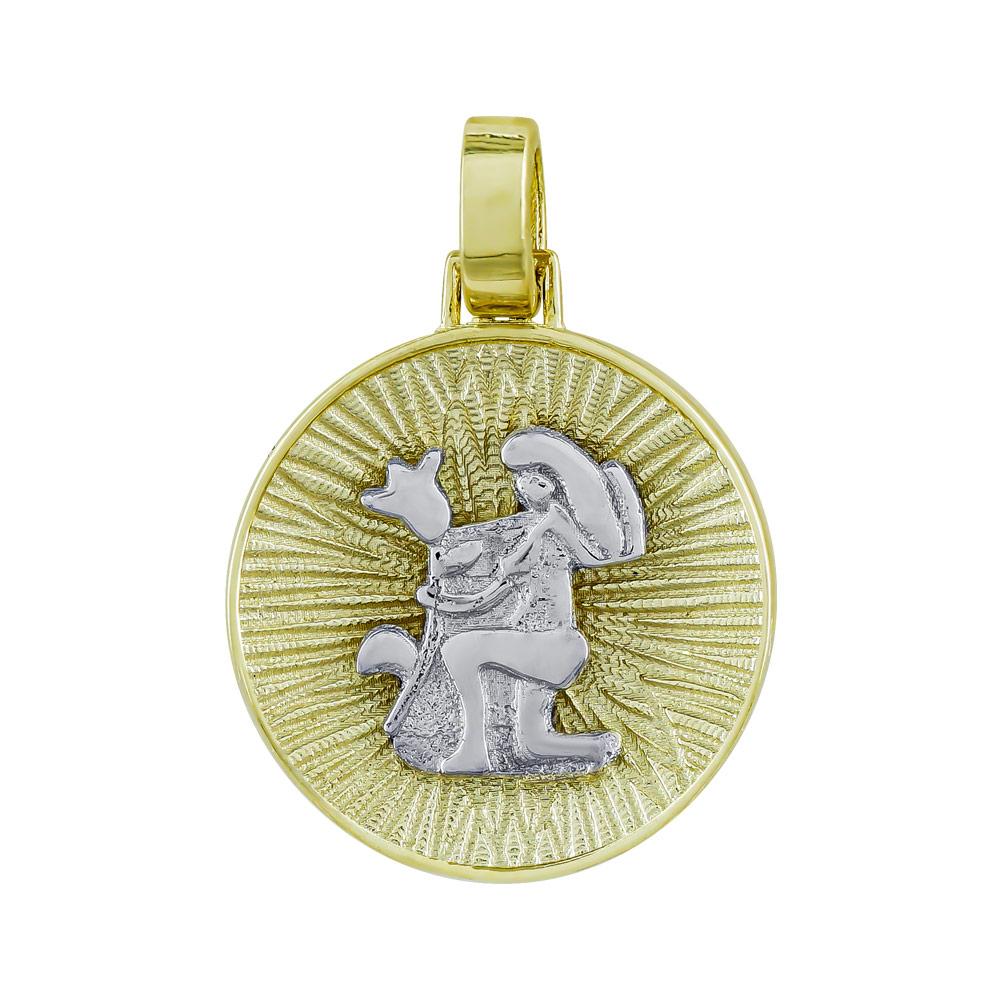 Ζώδιο Παρθένος με Κωνσταντινάτο από Δίχρωμο Χρυσό Κ14 ZD230
