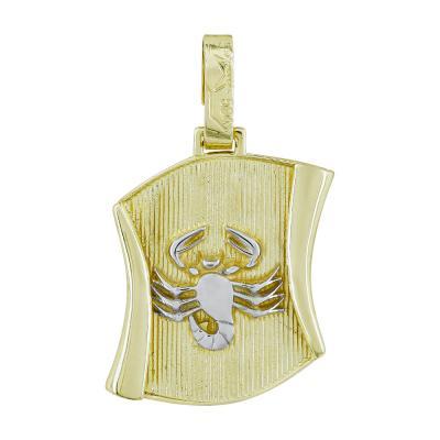 Ζώδιο Σκορπιός σε Πάπυρο από Δίχρωμο Χρυσό Κ14 ZD241