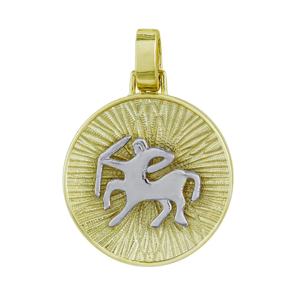 Ζώδιο Τοξότης με Κωνσταντινάτο από Δίχρωμο Χρυσό Κ14 ZD233