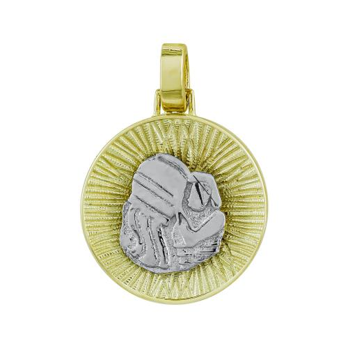 Ζώδιο Υδροχόος με Κωνσταντινάτο από Δίχρωμο Χρυσό Κ14 ZD235