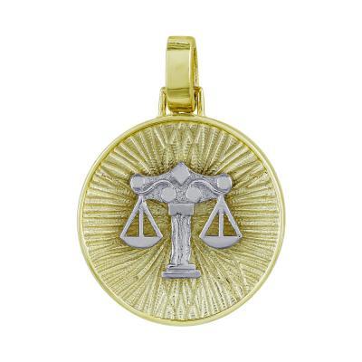 Ζώδιο Ζυγός με Κωνσταντινάτο από Δίχρωμο Χρυσό Κ14 ZD231