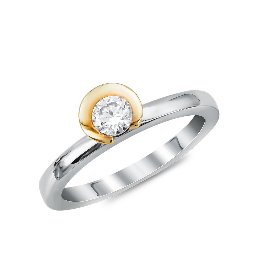 Μονόπετρο Δαχτυλίδι Breuning Με Διαμάντια Brilliant από Δίχρωμο Χρυσό K18 DDX4776