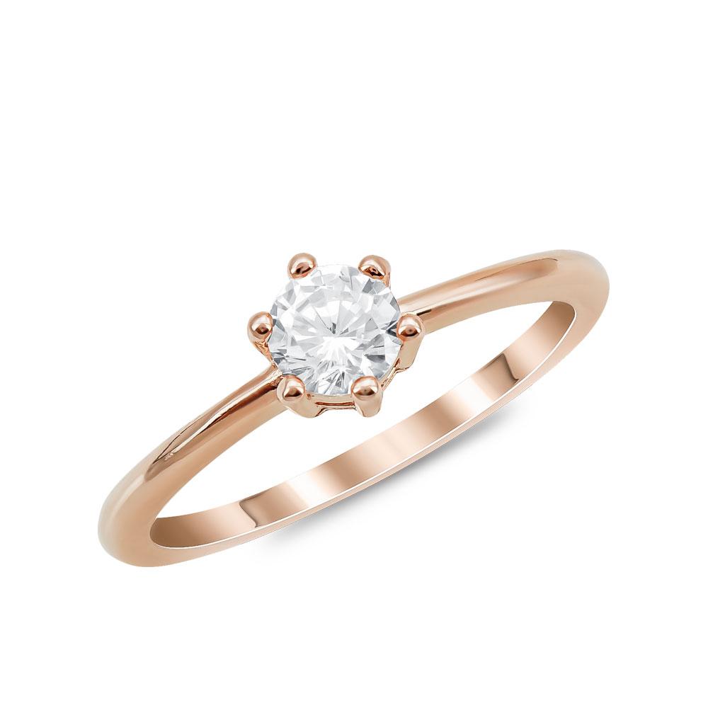 Μονόπετρο Δαχτυλίδι από Ροζ Επιχρυσωμένο Ασήμι DX907