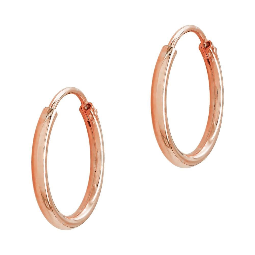 Σκουλαρίκια Κρίκοι Από Ροζ Επιχρυσωμένο Ασήμι SK1274