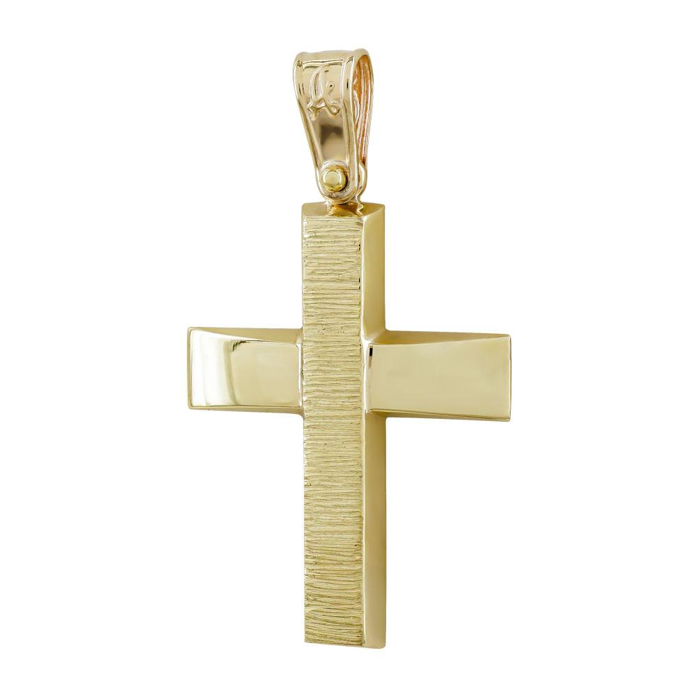 Σταυρός Βάπτισης Ανδρικός Σε Κίτρινο Χρυσό 9 Καρατίων ST2743