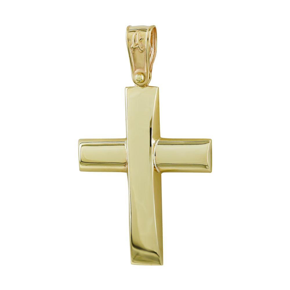 Σταυρός Βάπτισης Ανδρικός Σε Κίτρινο Χρυσό 9 Καρατίων ST2744