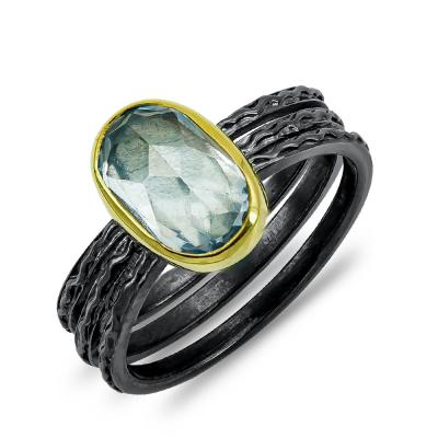 Xειροποίητο Δαχτυλίδι με Aqua Marine από Ασήμι και Κίτρινο Χρυσό Κ9 DX902