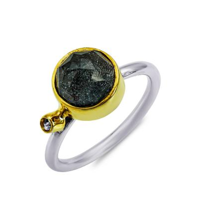 Δαχτυλίδι με Απατίτη Από Δίχρωμο Ασήμι DX916