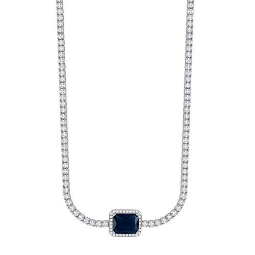 Κολιέ Choker Mε Μπλε Πέτρα από Ασήμι KL993