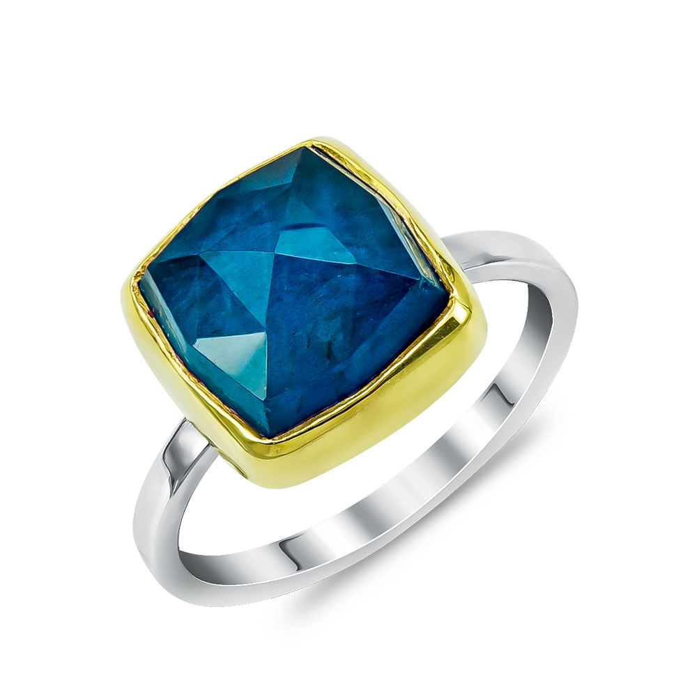 Xειροποίητο Δαχτυλίδι με Μπλε Χαλκηδόνιο από Δίχρωμο Ασήμι DX896