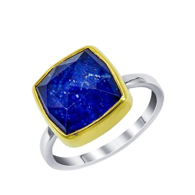 Xειροποίητο Δαχτυλίδι με Λάπις Λάζουλι από Δίχρωμο Ασήμι DX897