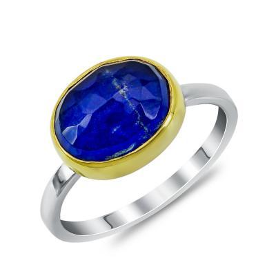 Xειροποίητο Δαχτυλίδι με Λάπις Λάζουλι από Δίχρωμο Ασήμι DX899