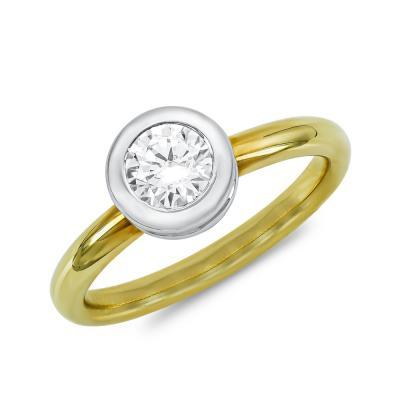 Μονόπετρο Δαχτυλίδι Με Διαμάντια Brilliant από Δίχρωμο Χρυσό K18 DDX4783
