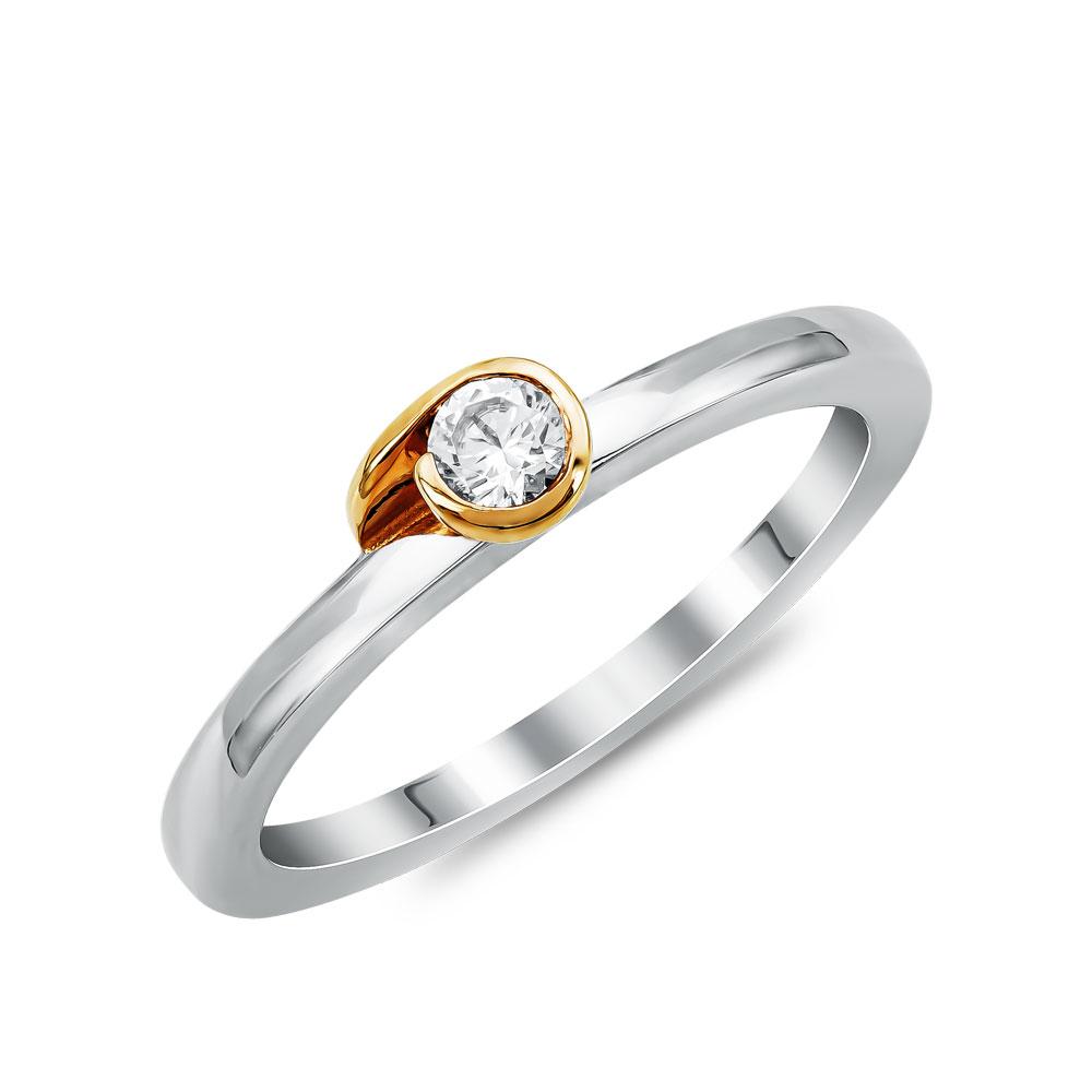 Μονόπετρο Δαχτυλίδι Breuning Με Διαμάντια Brilliant από Δίχρωμο Χρυσό K18 DDX4790