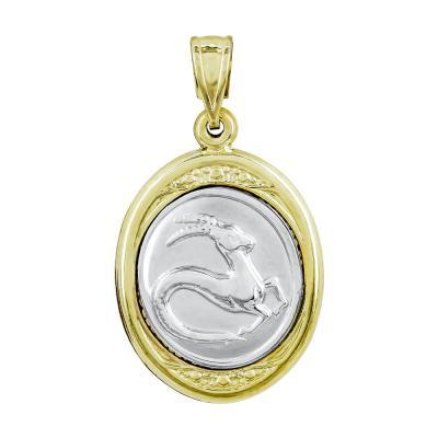 Ζώδιο Αιγόκερως με Κωνσταντινάτο από Δίχρωμο Χρυσό Κ9 ZD245