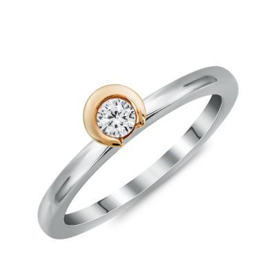 Μονόπετρο Δαχτυλίδι Με Διαμάντια Brilliant από Δίχρωμο Χρυσό K18 DDX4775
