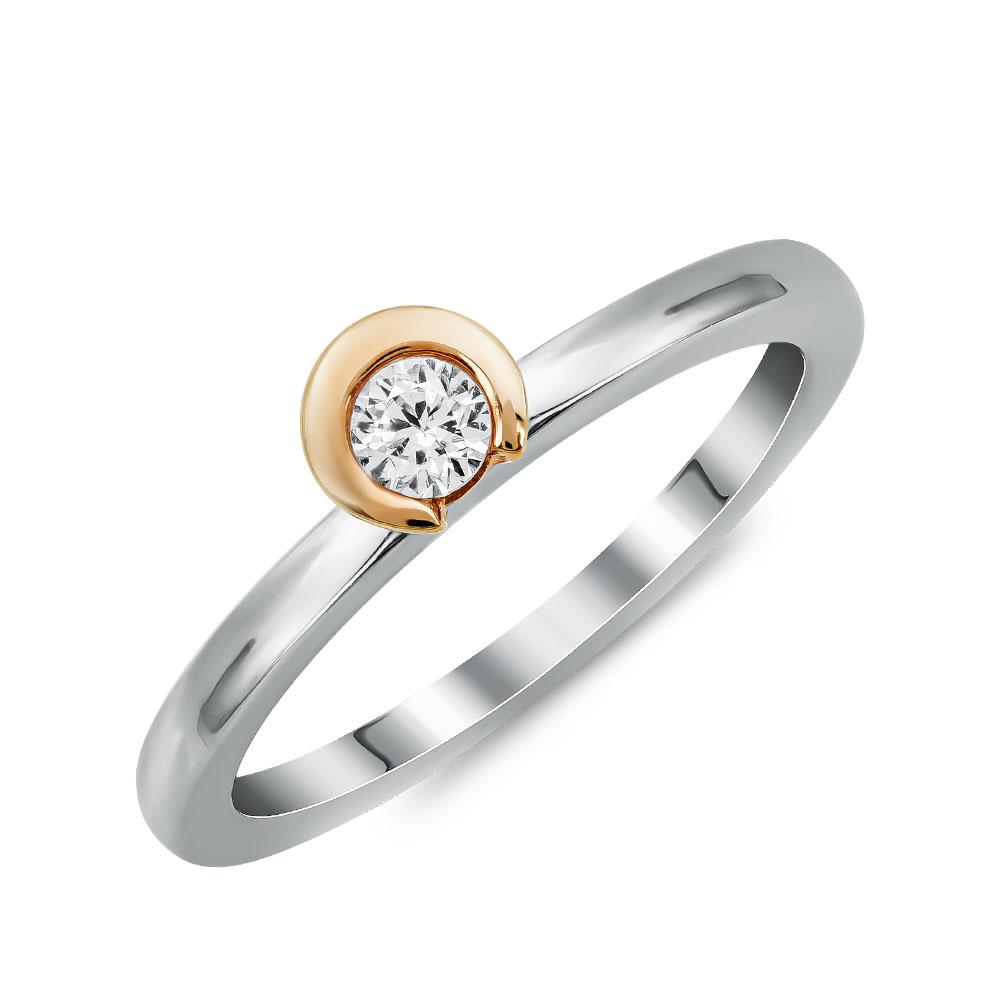 Μονόπετρο Δαχτυλίδι Breuning Με Διαμάντια Brilliant από Δίχρωμο Χρυσό K18 DDX4775