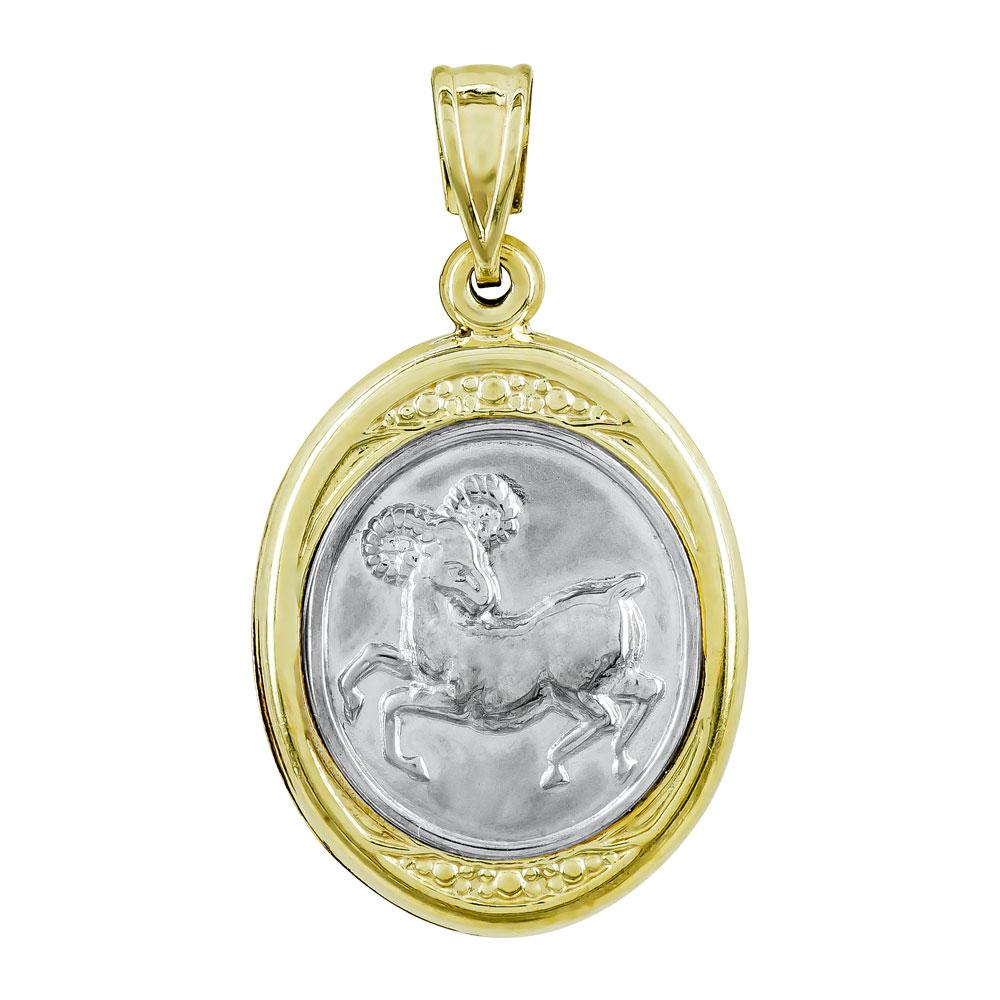 Ζώδιο Κριός με Κωνσταντινάτο από Δίχρωμο Χρυσό Κ9 ZD252