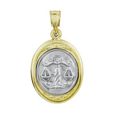Ζώδιο Ζυγός με Κωνσταντινάτο από Δίχρωμο Χρυσό Κ9 ZD247