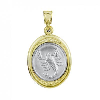 Ζώδιο Σκορπιός με Κωνσταντινάτο από Δίχρωμο Χρυσό Κ9 ZD246