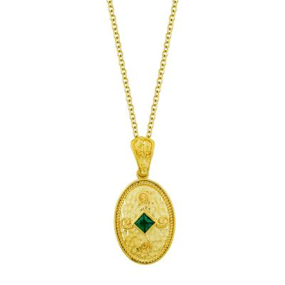 Βυζαντινό Κολιέ με Πράσινη Πέτρα από Επιχρυσωμένο Ασήμι KL995